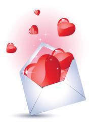 love you - envelope with hearts